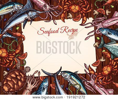 Seafood cooking recipe template with blank lined page. Vector design of fish catch and fishing sea food mackerel, lobster or crab and tuna, marlin, turtle or squid and shrimp and salmon