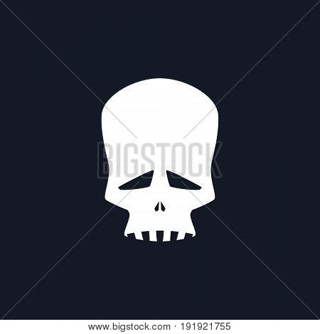 White Sad Skull Isolated, Silhouette Skull on Black Background , Death's-head, Black and White Vector Illustration