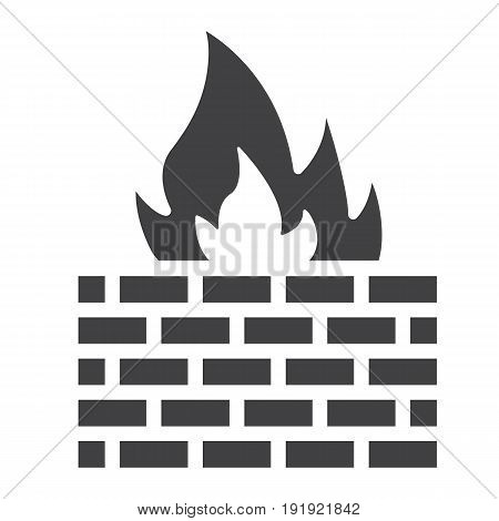 Firewall solid icon, security and brick wall, vector graphics, a glyph pattern on a white background, eps 10.
