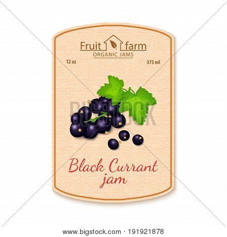 Vector black currant jam lable. Composition of ripe fruits. Design of a sticker for a jar with black currant jam, fruit marmalade, juice, smoothies. Sticker in retro style with texture for your design.