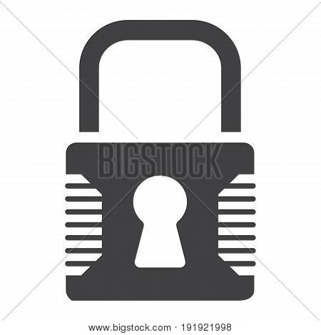 Padlock solid icon, security and lock, vector graphics, a glyph pattern on a white background, eps 10.