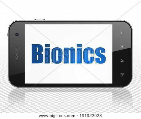 Science concept: Smartphone with blue text Bionics on display, 3D rendering