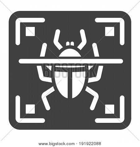 Virus scan solid icon, security and antivurus, vector graphics, a glyph pattern on a white background, eps 10.