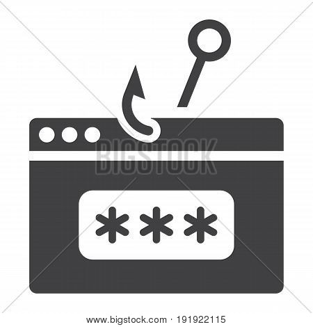 Password phishing solid icon, security and hack, vector graphics, a glyph pattern on a white background, eps 10.