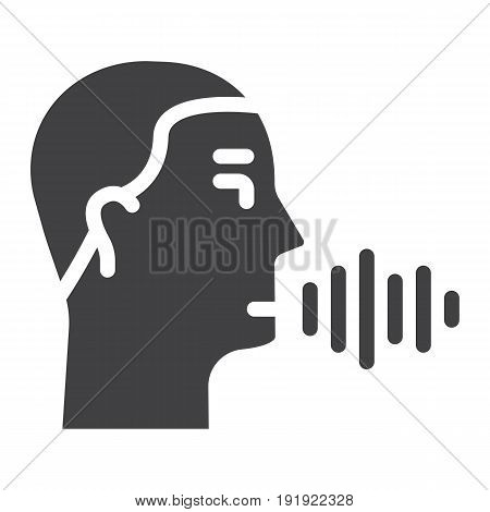 Speech recognition solid icon, voice control and security, vector graphics, a glyph pattern on a white background, eps 10.