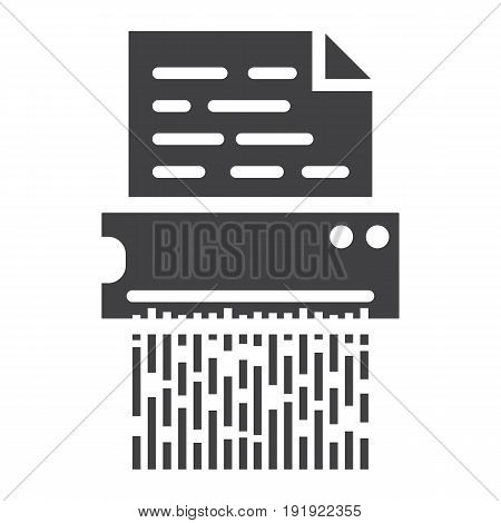 Document shredder solid icon, destroy file and confidential, vector graphics, a glyph pattern on a white background, eps 10.