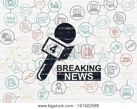 News concept: Painted black Breaking News And Microphone icon on White Brick wall background with Scheme Of Hand Drawn News Icons