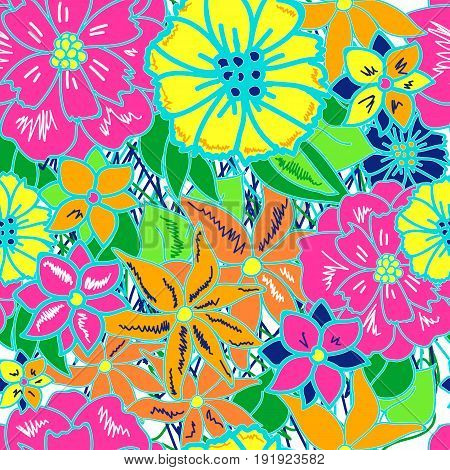Seamless pattern with colorful bright exotic flowers. Jungle background. Patterns for edible icing sheets for covering cakes.