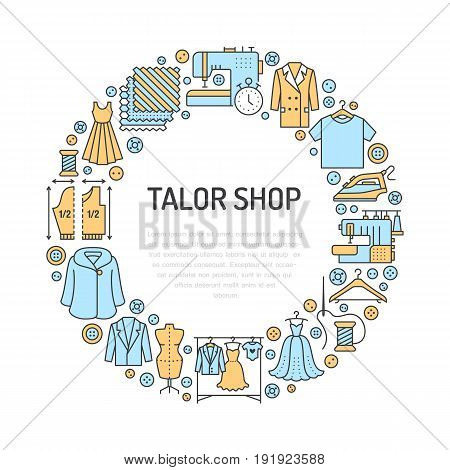 Clothing repair, alterations studio equipment banner illustration. Vector line icon of tailor store services - dressmaking, suit, garment sewing. Clothes atelier circle template with place for text.