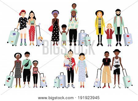 Set of traveling families and couples. Different fashionable people with luggage, children. Colorful vector collection in cartoon style