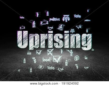 Politics concept: Glowing text Uprising,  Hand Drawn Politics Icons in grunge dark room with Dirty Floor, black background