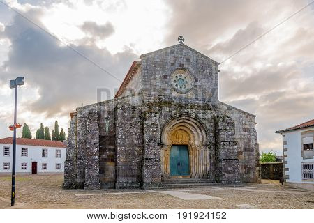 RATES,PORTUGAL - MAY 14,2017 - View at the Roman church Sao Pedro in Rates. Rates is a medieval township that developed around the Monastery of Rates.