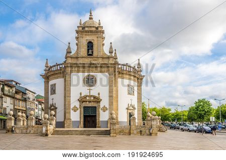 BARCELOS,PORTUGAL - MAY 14,2017 - Church Bom Jesus da Cruz in Barcelos. The town symbol is a rooster in Portuguese called Galo de Barcelos (Rooster of Barcelos).
