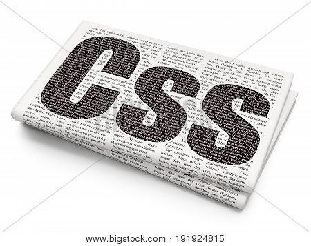 Software concept: Pixelated black text Css on Newspaper background, 3D rendering