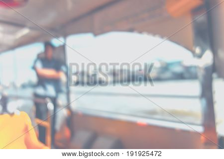 Blurred Background : People In Public Transportation Boat,abstract Background