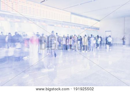 Blurred Background : People Queuing To Buy A Public Transport Auto Ticket,transportation Concept,vin