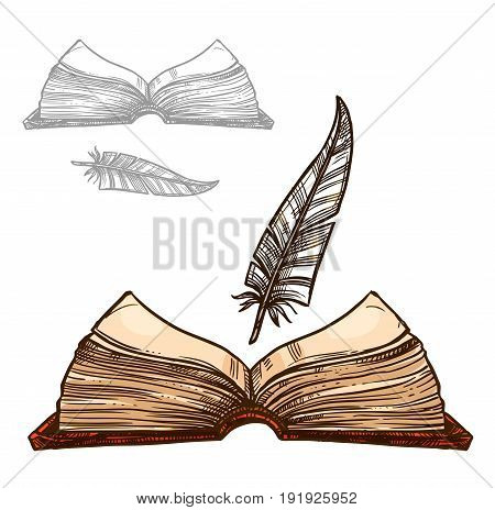 Old book or notepad and ink feather quill pen. Retro or antique writing stationery of brown rough notebook manuscript for letter or poem. Vector isolated icons set