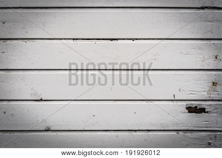 Dirty, Old Weathered White Outside Wooden Plank Wall.