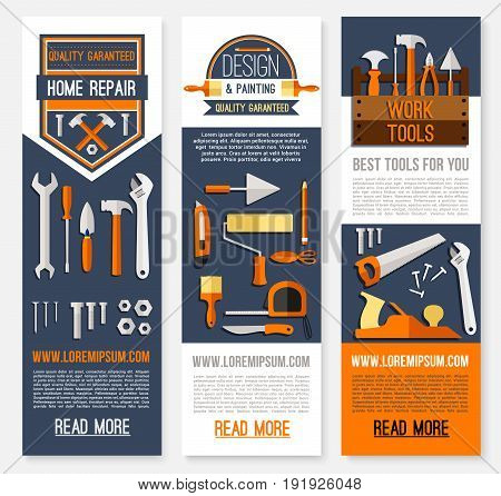 Home repair banners for house finishing and painting. Vector design of construction and carpentry work tools or design instruments of ruler, hammer or paint brush, screwdriver and drill or wrench