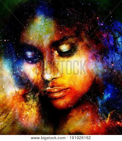 Goddess Woman in Cosmic space. Cosmic Space background