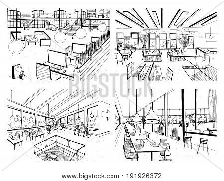 Set of hand drawn coworking. Modern office interiors, open space. workspace with computers, laptops, lighting and place for rest. Black and white horizontal vector sketch illustration