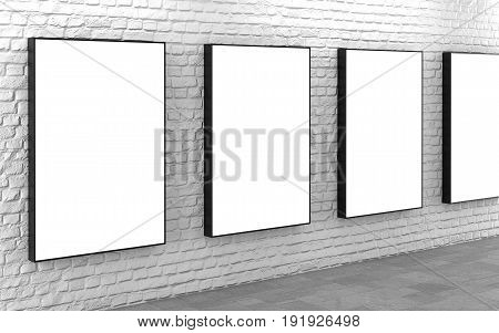 Blank billboard lightboxes or LCD screens on white brick wall. Empty street advertising signboards. 3D illustration