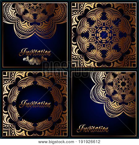 Set Of Indian Traditional Flower Mandala Ornament Illustration. Poster, Book,menu, Abstract, Ottoman