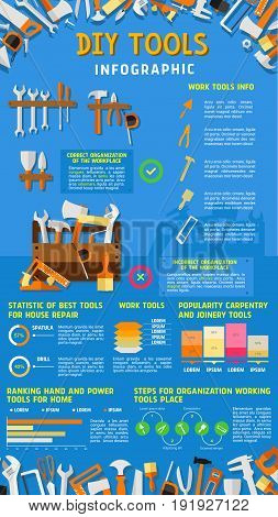 Do it yourself DIY work tools infographics. Vector design of home repair and carpentry instruments statistics, diagrams and chart elements on tools percent share for painting and house designing