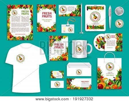 Fruit company vector identity icons templates set of corporate branding promo stationery supplies t-shirt apparel, business card, flag or mug and badge, blanks with exotic tropical fresh fruits design
