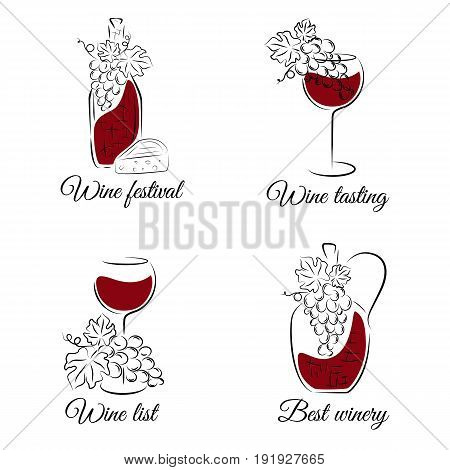 Wine concept. Hand drawn vector set. Can be used for wine list, menu restaurant, logo, emblem, wine tasting bar or winery illustration.