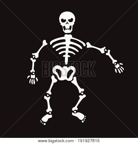 an illustration of white skeleton on black background