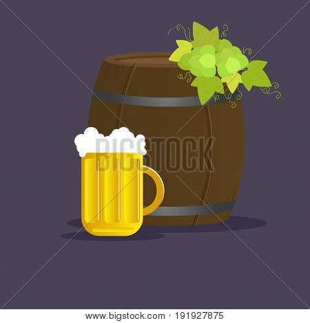 Vector still life with barrel of beer and mug Background isolated.