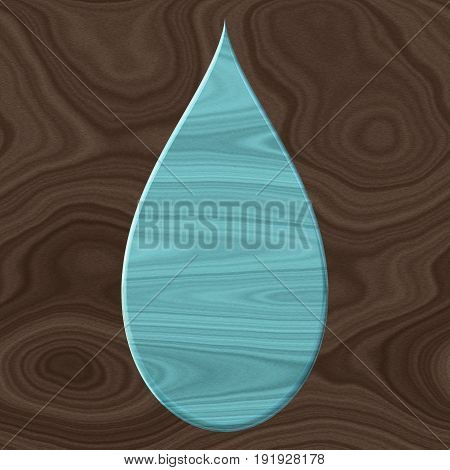 3d blue drop with wooden natural texture