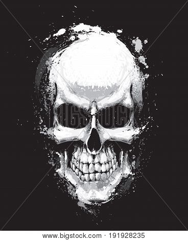 Artistic Vector illustration of a human skull. Artwork splashes extra splashes text and drop shadow on separate layers.