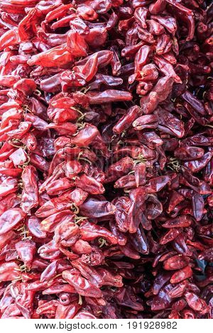 Close-up of dried hot red chilli pepper at market