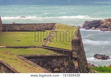 Beautiful scenery of ancient Dutch Galle Fort known as one of UNESCO World Heritage Site in Sri Lanka