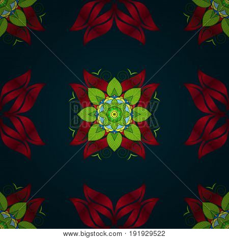 Vector seamless colorful floral pattern. Hand drawn floral texture blue decorative flowers.