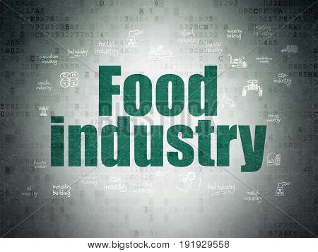 Manufacuring concept: Painted green text Food Industry on Digital Data Paper background with  Hand Drawn Industry Icons