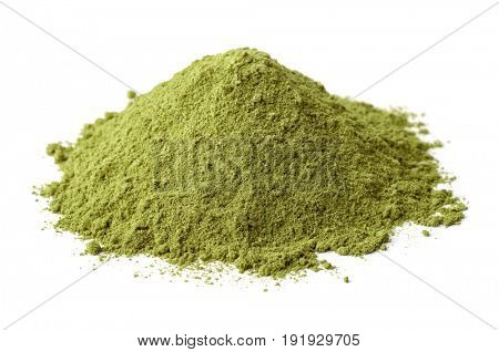Pile of dry henna powder isolated on white