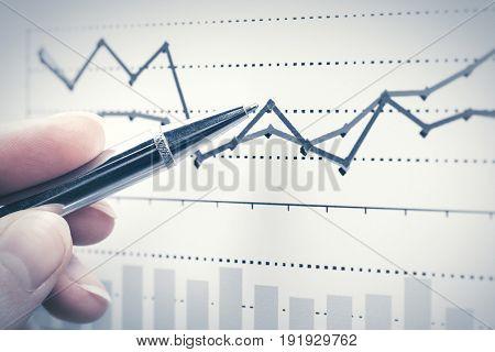 Financial graphs analysis. Stock market charts