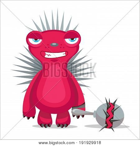 Angry Hedgehog Vector. Cartoon Mascot Character. Vector Illustration Isolated On White Background. Emotions Monster.