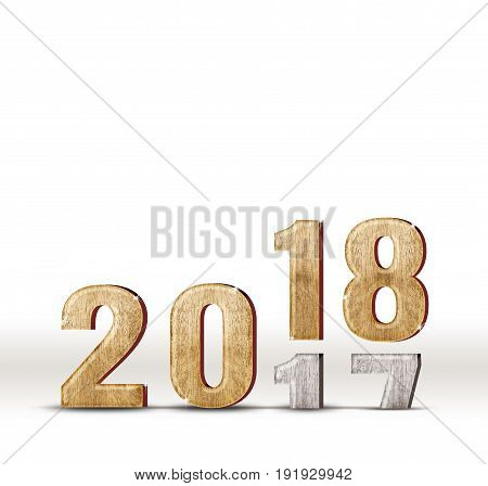 2017 wood number year change to 2018 new year in white studio room New year concept(3d rendering text).