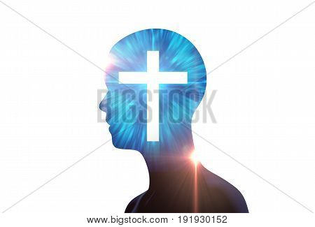 White Light Cross On Silhouette Of Virtual Human.