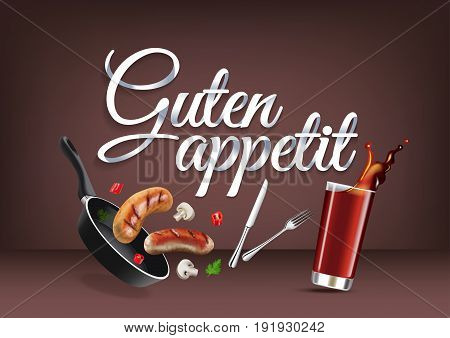 Enjoy your meal - in german language paper hand lettering calligraphy. Vector realistic illustration with food drink objects and text.