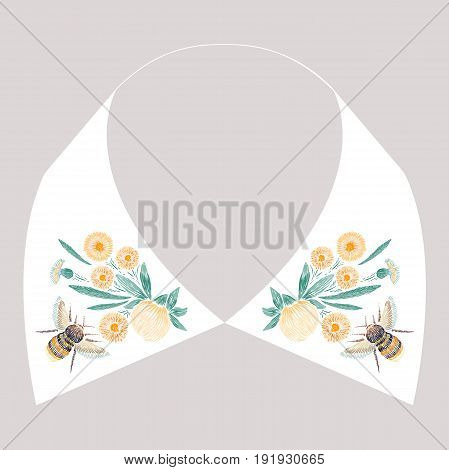 Satin stitch embroidery design with yellow flowers and bee. Folk line floral trendy pattern for dress collar. Natural fashion ornament for neck on white background