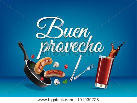 Enjoy your meal - in spanish language paper hand lettering calligraphy. Vector realistic illustration with food drink objects and text.