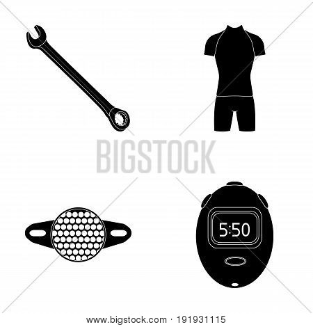 A wrench, a bicyclist s bone, a reflector, a timer.Cyclist outfit set collection icons in black style vector symbol stock illustration .