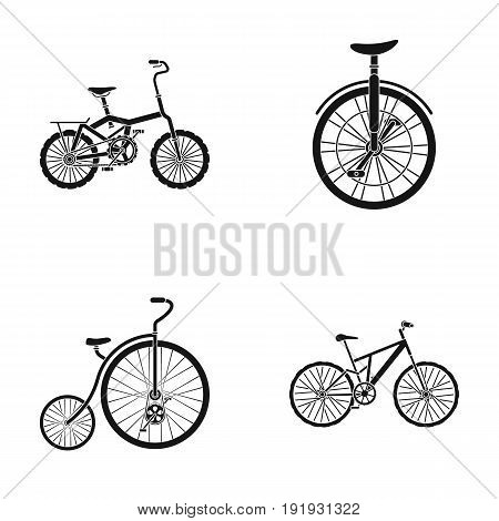 Retro, unicycle and other kinds.Different bicycles set collection icons in black style vector symbol stock illustration .