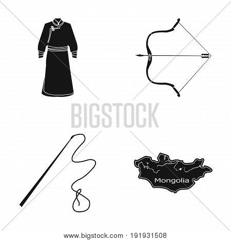 .mongol dressing gown, battle bow, theria on the map, Urga, Khlyst. Mongolia set collection icons in black style vector symbol stock illustration .
