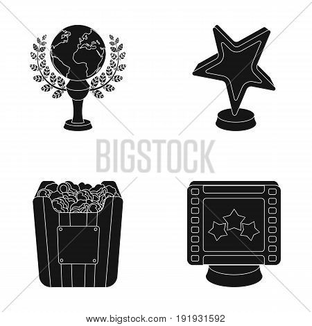 A gold prize in the form of a star, a gold globe and other prizes.Movie awards set collection icons in black style vector symbol stock illustration .